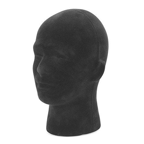 Maniquí de espuma negro Maniquí cabeza modelo pelucas Cap Headwear que exhibe el soporte de exhibición