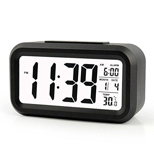 Cisixin Smart LED-Digital-Wecker, 5 Minuten Snooze, mit Großem Display, Snooze, Datumsanzeige, Temperatur und Lichtsensor (Schwarz)