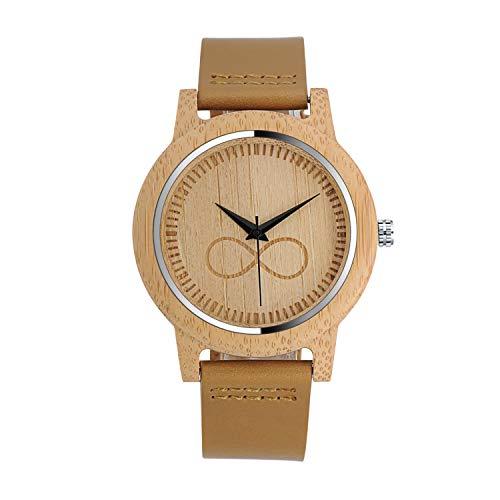 Infinito U-Reloj de Madera de Bambú para Mujer y Hombre Reloj de Cuarzo con la Correa de Cuero Genuino Diseño del Símbolo Infinito