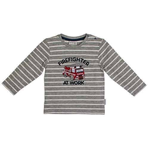 Salt & Pepper Baby-Jungen Ready for Action Feuerwehr Firefighter Applikation Sweatshirt, Grau (Grey Melange 218), (Herstellergröße: 80)