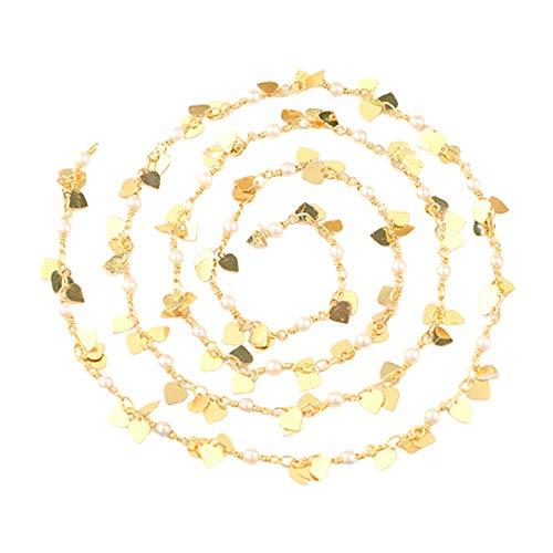 Non-brand Collar de Eslabones de Cadenas de Perlas de Corazón de Latón a Granel para Hacer Joyas Pulsera de Bricolaje