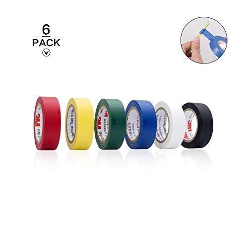 Globaldream 6 Stück 3M farbiges elektrisches Klebeband, Farbcode für die sichere Verkabelung mit PVC-Klebeband für Innen- und Außenbereiche für eine Vielzahl von Taping-Anforderungen 10M x 18MM