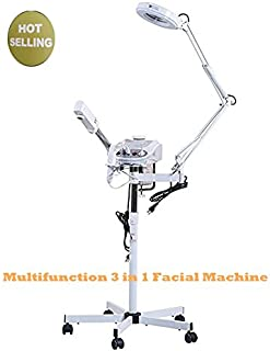 3 in 1 Facial Furniture Spa Equipment Machine Beauty Tool Include Facial Steamer & 5X Magnifying Lamp & High Frequency Hot Ozone Machine