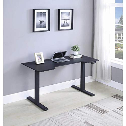 Black Adjustable Height Standing Desk Industrial Modern Contemporary MDF Metal Wood Finish Includes Hardware