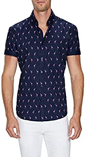 Tarocash Men's Paradise Flamingo Print Shirt Regular Fit Long Sleeve Sizes XS-5XL for Going Out Smart Occasionwear