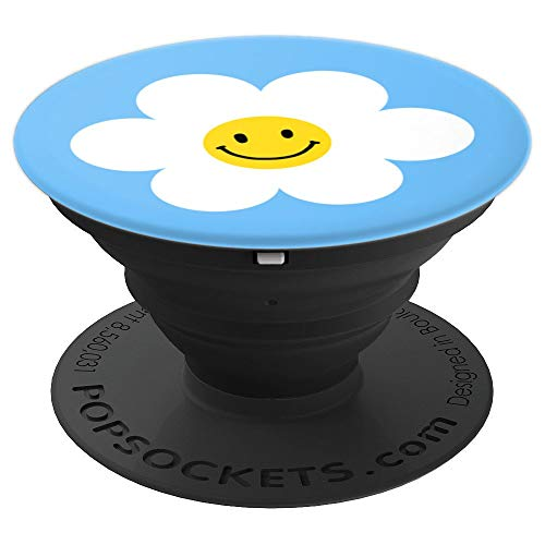 Cute Daisy Flower with Smiley Happy Face PopSockets Grip and Stand for Phones and Tablets