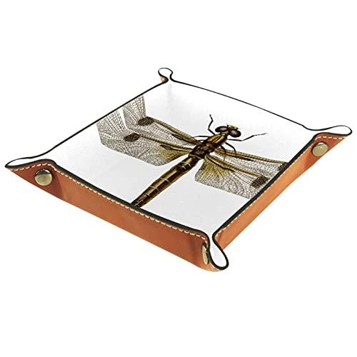 Organizador de joyas de libélula marrón para viajes, hogar u oficina