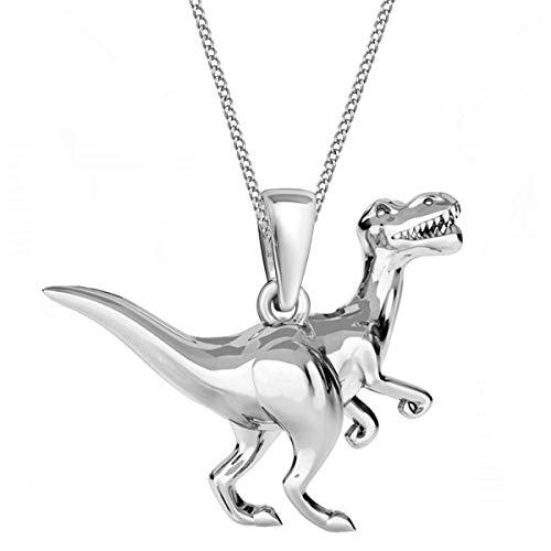3D Dinosaurier Anhänger mit Kette 925 Echt Silber Mädchen Damen Halskette Dino (1) Silber, 38)