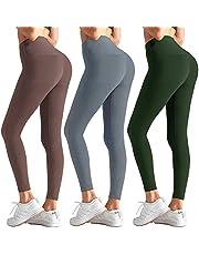 Aoliks 3 Pack High Waisted Leggings for Women - Black Workout Running Leggings Tummy Control Non See-Through Yoga Pants