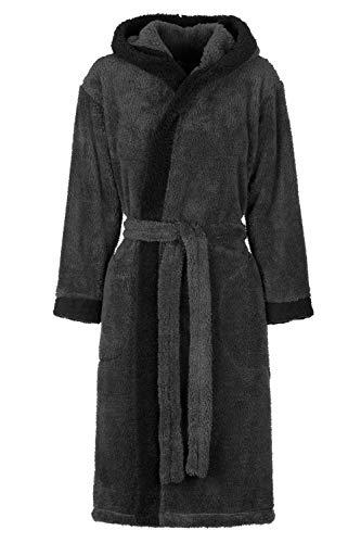 Di Ficchiano Unisex Herren Damen Bademantel mit Kapuze I Morgenmantel flauschig I Nachtwäsche aus edler Mikrofaser I Kimono Farbe: Grey/Black, Gr. M