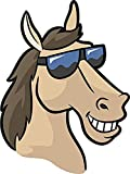 NGK Trading Cool Smiling Beige Horse with Sunglasses Cartoon Emoji (4' Tall) Truck Car Bumper Sticker Decal Wall Laptop