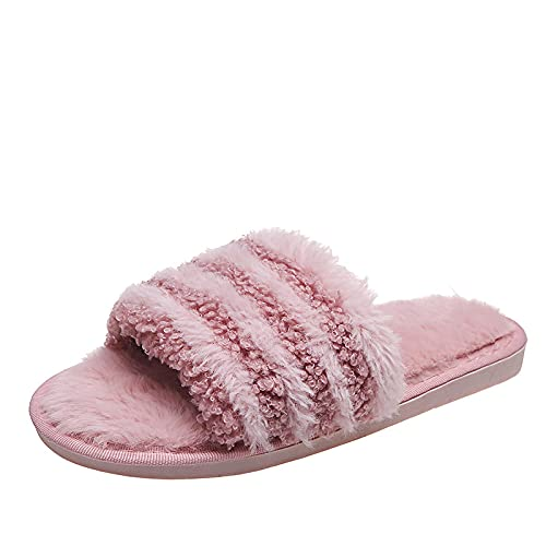 NUGKPRT chanclas,Solid Color Slippers Home Indoor Floor Shoes Fulffy For Bedroom Open Toe Comfy Shoes Women 38-39(24.5-24.5cm) purple