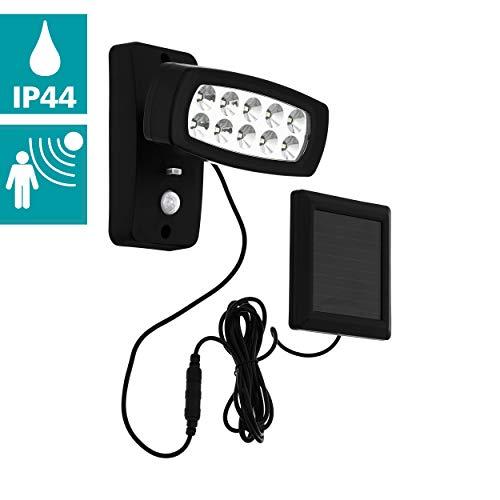 EGLO LED outdoor wandlamp Palizzi, 1 vlammige sensor-buitenlamp, solar-wandlamp van kunststof, buitenspot met bewegingsmelder, werkt op zonne-energie, IP44, kleur: zwart