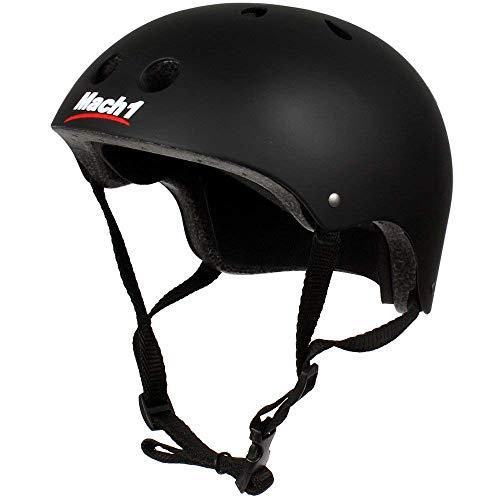 Mach1® Helm Skaterhelm, Fahrradhelm, BMX-Helm, Inliner-Helm für Skater schwarz-matt (56-58cm (Gr. L))