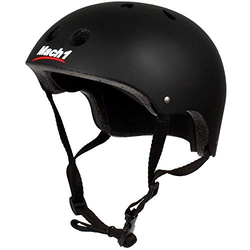 Mach1® Helm Skaterhelm, Fahrradhelm, BMX-Helm, Inliner-Helm für Skater schwarz-matt (54-56cm (Gr. M))