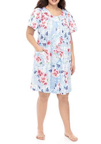 Miss Elaine Floral-Print Sateen Grip Front Short Robe (2X Plus, Pink/Blue)