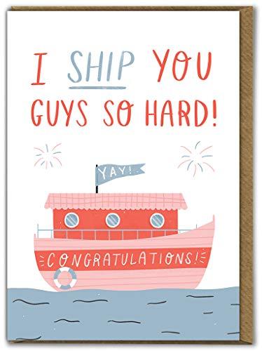 Grappige Humorous 'I Ship You' verloving/trouwkaart