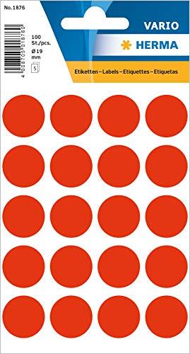 HERMA 1876 Vielzweck-Etiketten / Farbpunkte rund (Ø 19 mm, 5 Blatt, Papier, matt) selbstklebend, permanent haftende Markierungspunkte zur Handbeschriftung, 100 Klebepunkte, leuchtrot