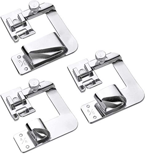 DENALY 3 Sizes Rolled Hem Pressure Foot Sewing Machine Presser Foot Hemmer Foot Set (1/2 Inch, 3/4 Inch, 1 Inch) for Singer, Brother, Janome and Other Low Shank Adapter