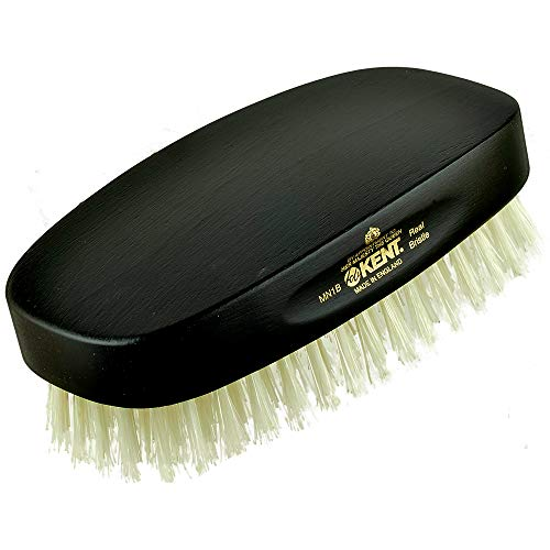 Kent MN1B Finest Men's Military Style Rectangular Ebonywood Hair Brush with 100% Natural White Boar Bristle - Ideal for Fine or Thinning Hair, Sensitive Scalp Brush, 360 Wave, and Beard Straightener