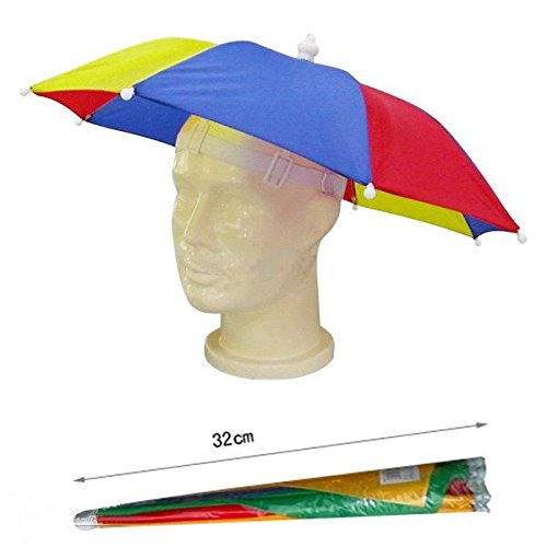 aa844ce007f Ladies Mens Adult Multi Colour Festival Essential Umbrella Rain Hat Fancy  Dress Blue Red