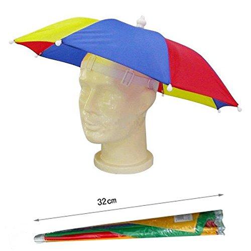 Hyfive Señoras Mens adulto Festival Multi Color esencial lluvia paraguas Hat Fancy Dress azul/rojo/amarillo 32cm