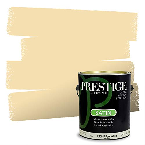 Prestige Paints Exterior Paint and Primer In One, 1-Gallon, Satin, Comparable Match of Sherwin Williams* Banana Cream*