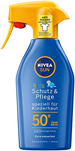NIVEA SUN Sonnenspray mit verbesserter Formel für Kinder, Lichtschutzfaktor 50+, 300 ml Sprühflasche, Kids Schutz & Pflege