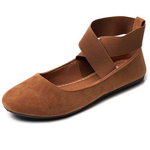 Alpine Swiss Peony Womens Ballet Flats Elastic Ankle Strap Shoes MS Tan 11 M US