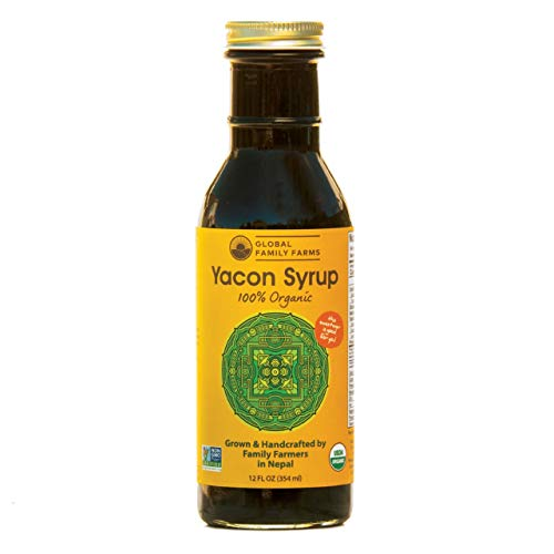 Global Family Farms Yacon Syrup 100% Organic, 12 Fl Oz Glass Bottle, Low Calorie, Satisfying Sweetness, Rich in Minerals, Low Glycemic, High in FOS/Prebiotic for Digestive Health