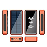 Power Bank Solar 50000Mah Cargador Solar Movil Bateria Externa Movil Inalambrica Powerbank Cargador Portatil con 5 Salidas(QI+4 USB) Y 4 Entradas(USBC,Micro,Lighting,Solar) Y Linterna LED,Naranja