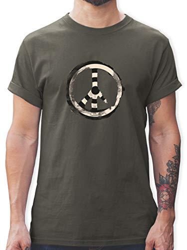 Statement - Zielscheibe Frieden - Target Peace - 3XL - Dunkelgrau - Rundhals - L190 - Tshirt Herren und Männer T-Shirts