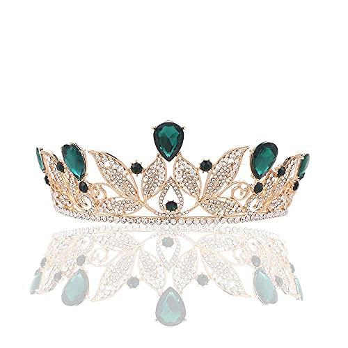 TYUXINSD Hermosa Accesorios para el Cabello de la Corona Tocado de Novia Rhinestone Verde Vestido de Boda Accesorios de la Corona de Oro Damas de Las señoras (Color: Verde) (Color : Green)