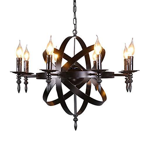 Europäische Schloss Stil Kronleuchter mittelalterlichen Anhänger rund Kerze Schmiedeeisen Kronleuchter 8 Lampe geeignet für Wohnzimmer Korridor Schlafzimmer Deckenleuchte