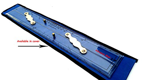Advance.Man Marine Navigation Parallel Ruler Clear Folding Parallel Ruler 21 inches with Brass Divider and Brass Pencil Compass 8 inches