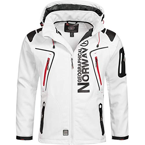 Geographical Norway TECHNO MEN - Herren-Softshell-Jacke - Outdoor Ubergangsjacke- Winddichte Winterjacke - Ideal Für Outdoor-Aktivitäten Softshelljacke Funktionsjacke Outdoorjacke Warme (WEISS S)