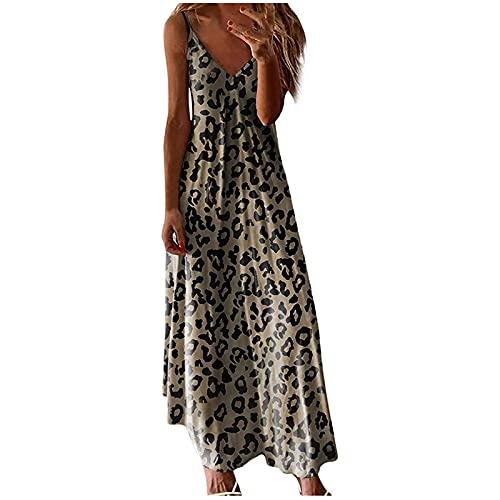 AMhomely Vestidos de verano para mujer, talla grande, estampado de camuflaje y leopardo, cuello en V, sin mangas, vestido largo, vestido largo, elegante, vestidos de mujer, talla Reino Unido