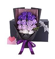 Kploloss ソープフラワー 母の日 結婚祝い 結婚記念日誕生日 花束 造花 プレゼント ギフト 贈り物 ギフト 敬老の日 開店祝い お見舞い 感謝 お礼 ギフトボックス (BB-パープル(18本))