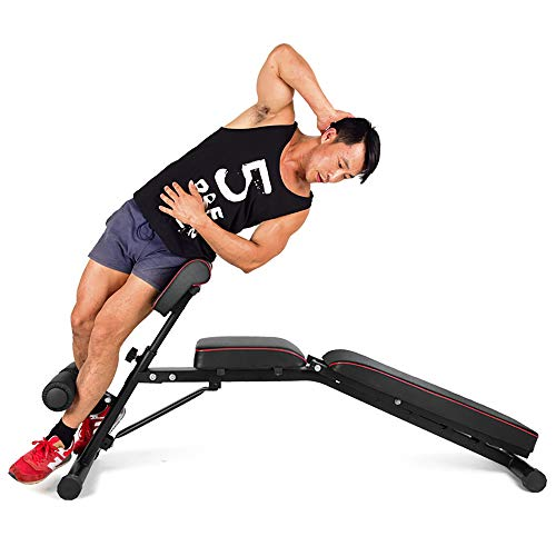 DlandHome Home Gym Adjustable Bench Sit Up Incline Exercise Dumbbell Bench Height Adjustable, Multi-Functional Strength Training Fitness Workout Station, PSBB004