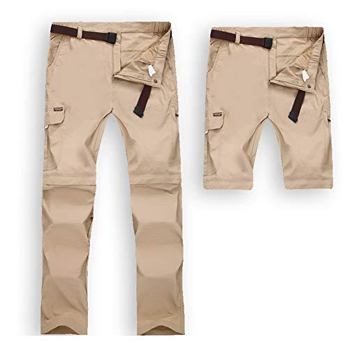 JIANYE Pantaloni Trekking Uomo Donna Zip off Rimovibili Pantaloni Montagna Impermeabile Pantaloni Outdoor con Cintura Cachi 2XL