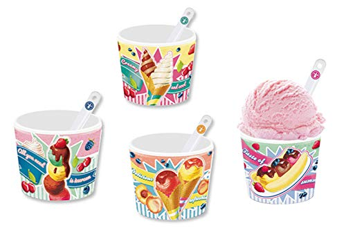 Eisbecher Set im Geschenkkarton/Retrodesign/Porzellan / 8-teilig mit 4 Bechern und 4 Löffel (Gelati)