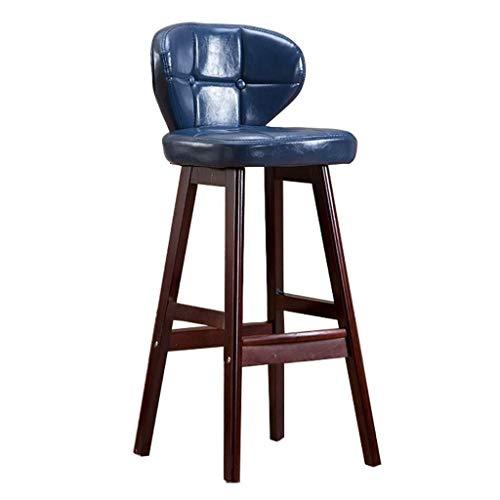 Sedia per sgabelli in Legno di Gomma con Schienale ergonomico e poggiapiedi   Cuscino in Ecopelle Cuscino per la Colazione per Pub/Cucina sgabelli da Bar (Color : Brown, Size : 75cm)