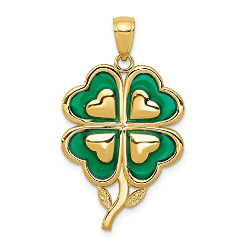 14k Yellow Gold 4 Leaf Clover Pendant Charm Necklace Enameled Tips Good Luck Italian Horn Celtic Claddagh Fine Jewelry For Women Gifts For Her