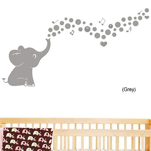 Wandaufkleber mit niedlichem Elefantenmotiv, Vinyl-Aufkleber, Heimdekoration, Wanddekoration für Kinderzimmer, Wohnzimmer, Grau