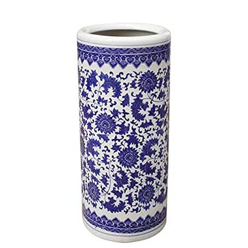 Umbrella stand Paragüero de Porcelana Azul y Blanca Tradicional Retro, Cubo de Paraguas Artístico para Bastones/Flores Secas/Bastones de Senderismo, Paragüero Pesado, Ahorro de Espacio