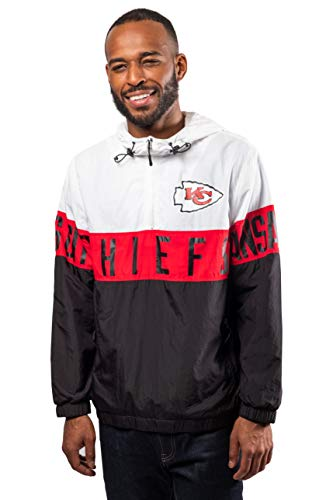 Ultra Game NFL Kansas City Chiefs Herren Windbreaker-Jacke, Quarter Reißverschluss, Gr. L, Weiß