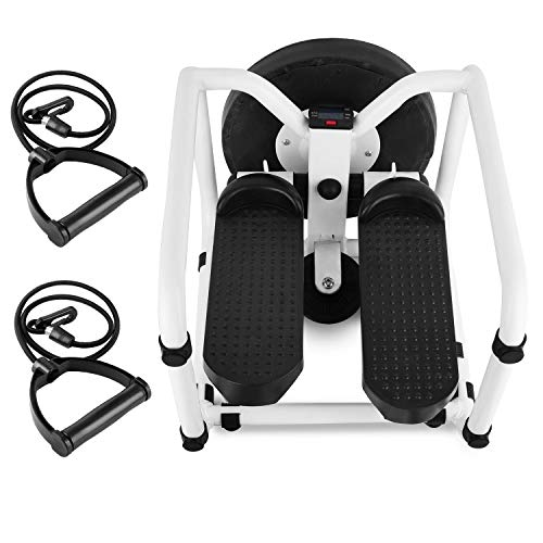 AMAZOM Stepper Desk Multifuncional Mini Twist Stepping Machine con Bandas De Resistencia, Stepper De Escalera Hidráulica para Interior De Fitness con Pantalla