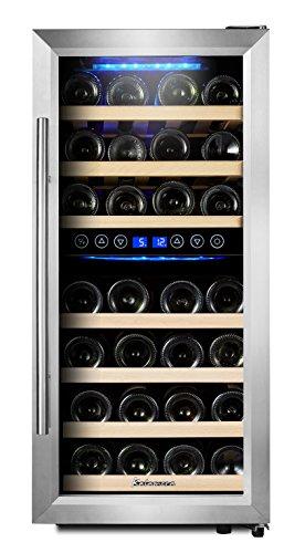 KRC-33BSS Kompressor Weinkühlschrank, 100 Liter, 33 Flaschen (bis zu 310 mm Höhe), 2 Zonen...