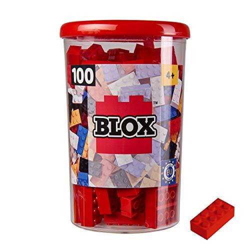 Simba 104118905, Blox, 100 rote Bausteine für Kinder ab 3 Jahren, 8er Steine, inklusive Dose, hohe Qualität, vollkompatibel mit vielen anderen Herstellern