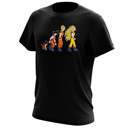 T-Shirt Manga - Parodie Dragon Ball Z / DBZ - La Théorie de l'évolution :) - T-shirt Homme Noir - Haute Qualité (631) - Medium